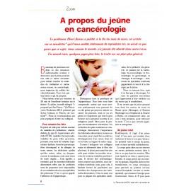 Le jeûne en cancérologie