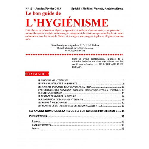 N° 013 - Le bon guide - Spécial Phlébite, Varices, Artériosclérose